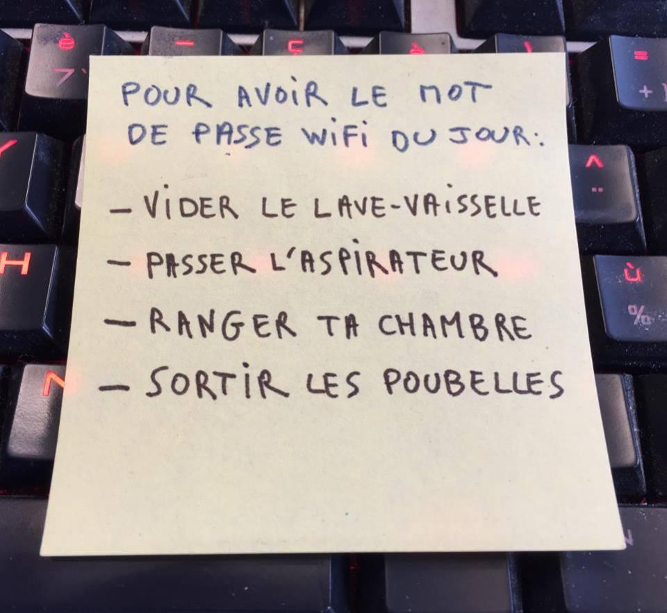 Pour avoir le mot de passe wifi du jour