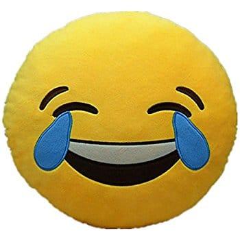 Mignon Peluche Emoji Jaune Emoticône Smiley Rond Coussin