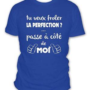T-shirt humour: Si tu veux frôler la perfection passe à coté de moi