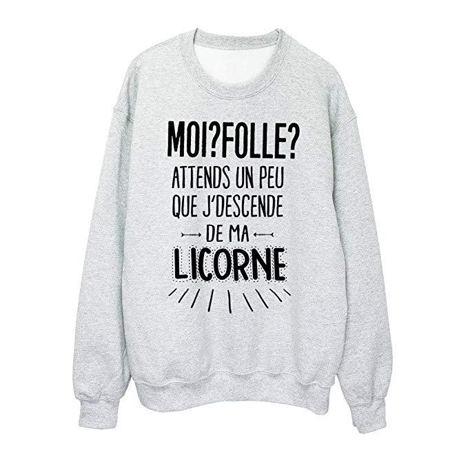Sweat-Shirt humour: moi? folle? attends un peu que j'descende de ma licorne