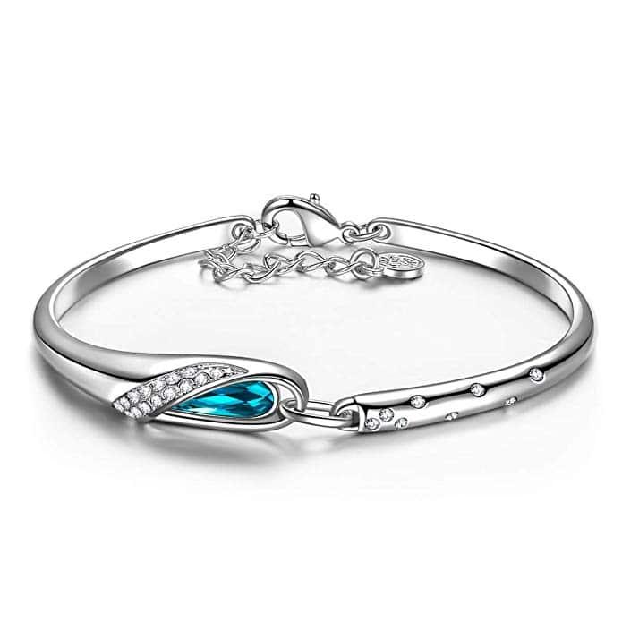 Collier pour Femme composé de Cristaux Swarovski Oval Bleu