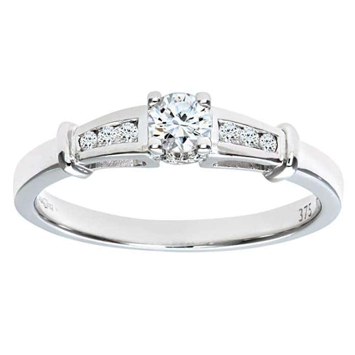 Bague Solitaire - Femme - Or blanc - Diamant