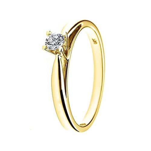 Bague solitaire de mariage Femme - Or jaune Diamant