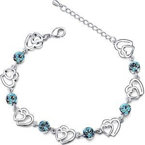 Bracelet avec cœurs entrelacés argent