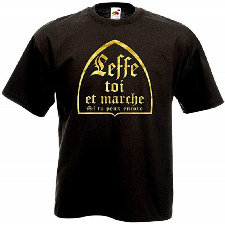 T-Shirt Noir et Or Leffe Toi et Marche Humour Bière Alcool Fête Soirée