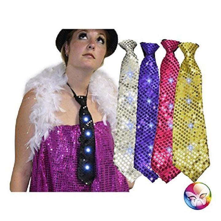 Cravate sequins lumineuse avec 4 leds 5 couleurs assorties