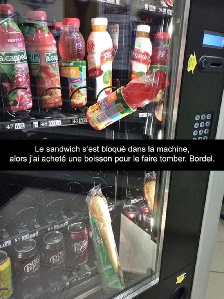 Le sandwich s'est bloqué dans la machine...