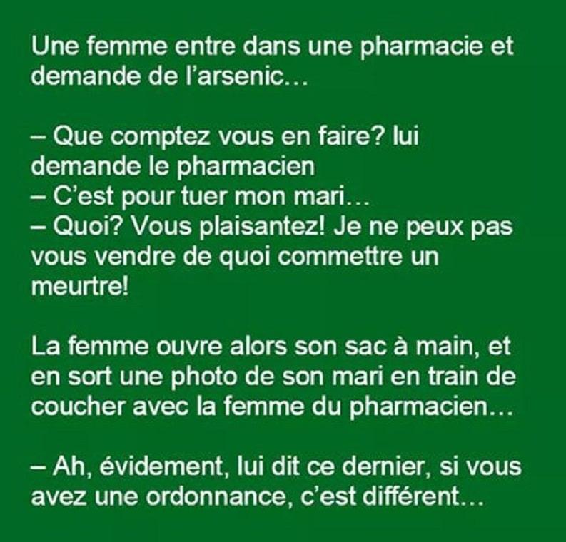 Une femme entre dans une pharmacie et demande de l'arsenic