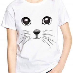 T-Shirt à Manches Courtes Femme Mignon Chat