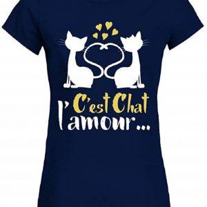 T-Shirt Couple Animal Humour C'est Chat l'amour Femme