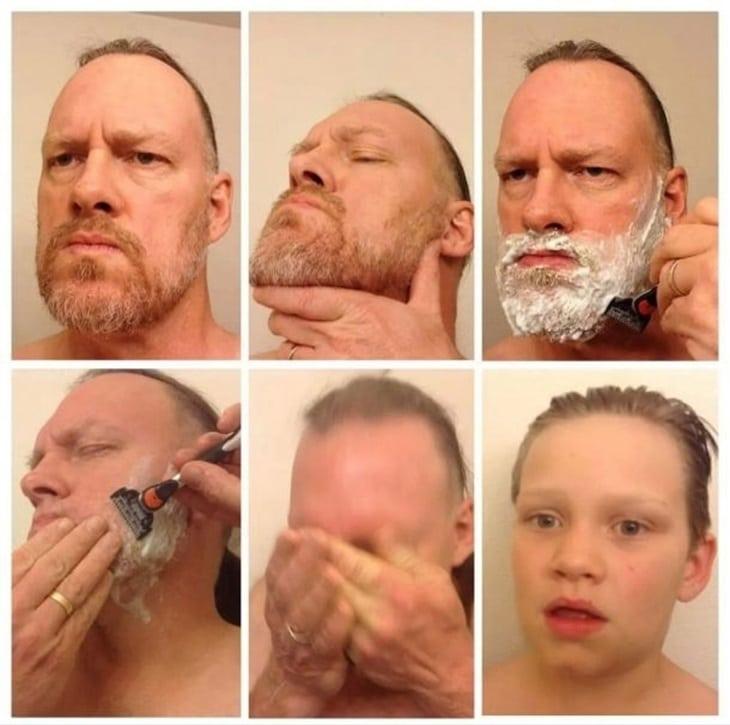 Rasage d'une barbe avant et après