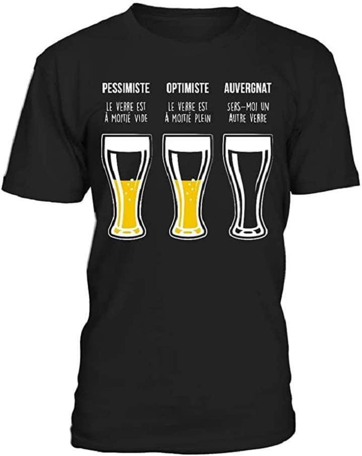 T-Shirt Homme Pessimiste Optimiste Auvergnat